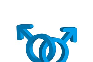 Two crossed blue mens gender signs
