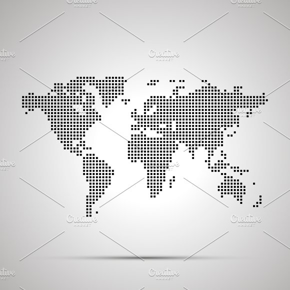 World Map Pixelated Silhouette
