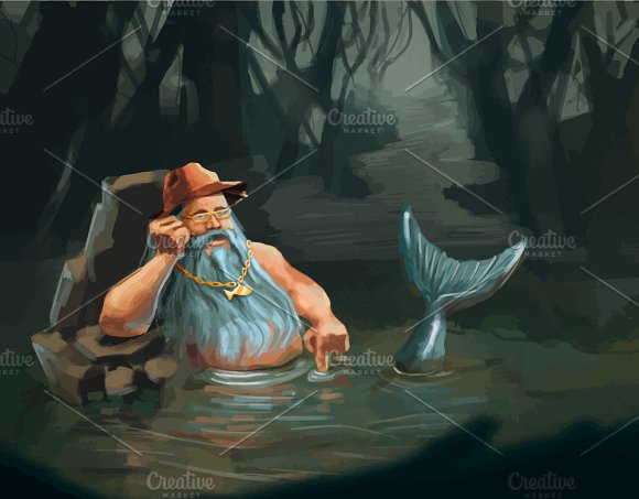 Old man mermaid character concept