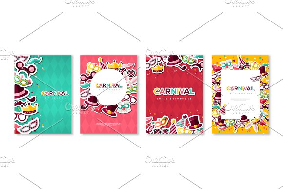 Carnival colorful posters set
