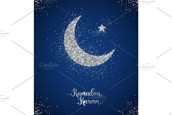 Ramadan Kareem card with crescent and star