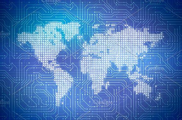 Hi-tech pixelated world map