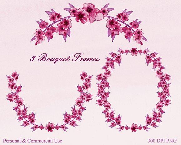 Burgundy Watercolor Sakura Floral in Illustrations - product preview 1