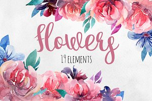 Watercolor pink flowers clip art