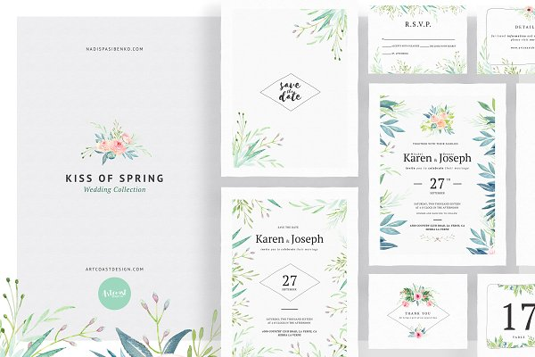 Invitation Templates: Spasibenko Art - Kiss Of Spring Wedding Collection