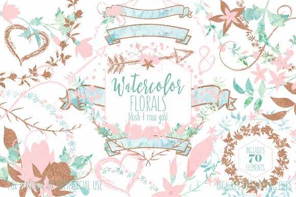 Blush & Rose Gold Watercolor Floral