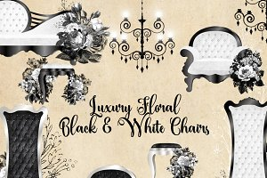 Luxury Floral Black and White Chairs