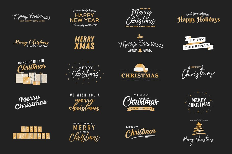 Holiday Christmas Vector Text Set