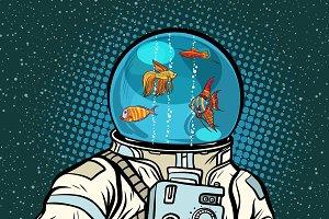 Astronaut with helmet aquarium with fish