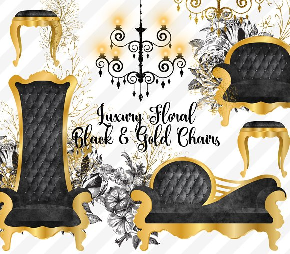 Luxury Floral Black and Gold Chairs