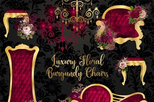 Luxury Floral Burgundy Chairs
