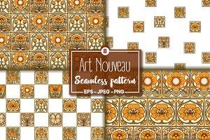 8 Art Nouvea Seamless Pattern