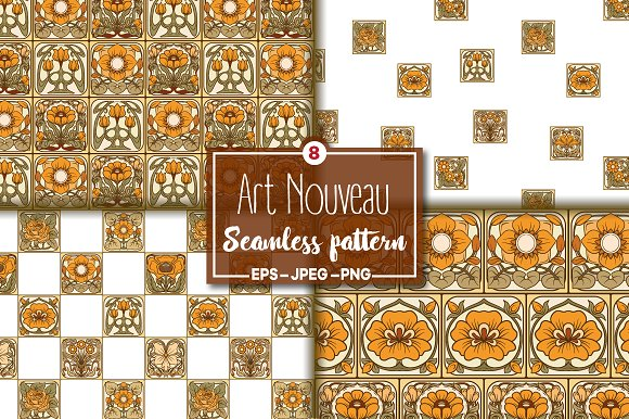 8 Art Nouvea Seamless Pattern
