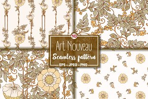 10 Art Nouveau Floral Patterns