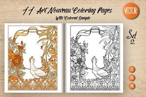 11 Art Nouveau Coloring Page