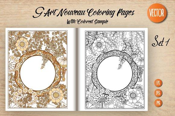 9 Art Nouveau Coloring Page