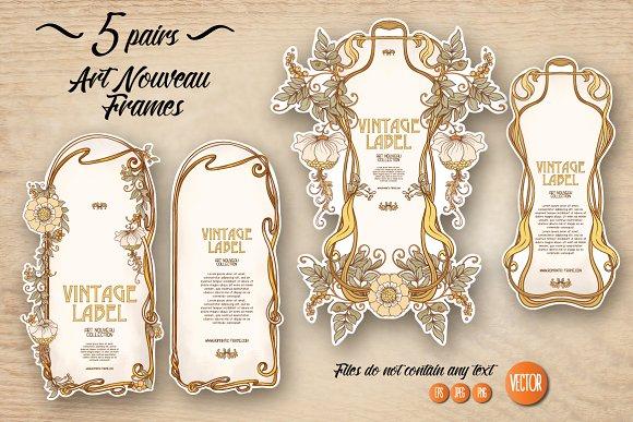 5 Pair of Art Nouveau Labels