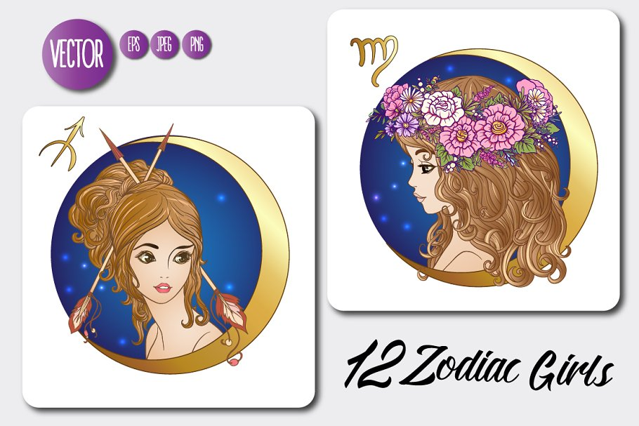 12 Zodiac Girls with Moon