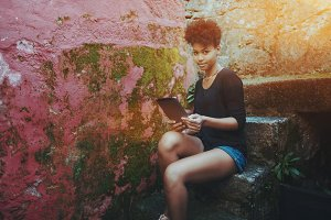 Black girl with tablet pc