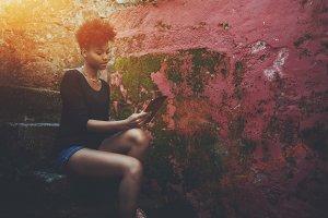 Black girl with digital pad