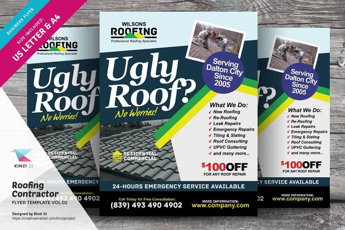 Roofing Contractor Flyer Vol 02 Flyer Templates