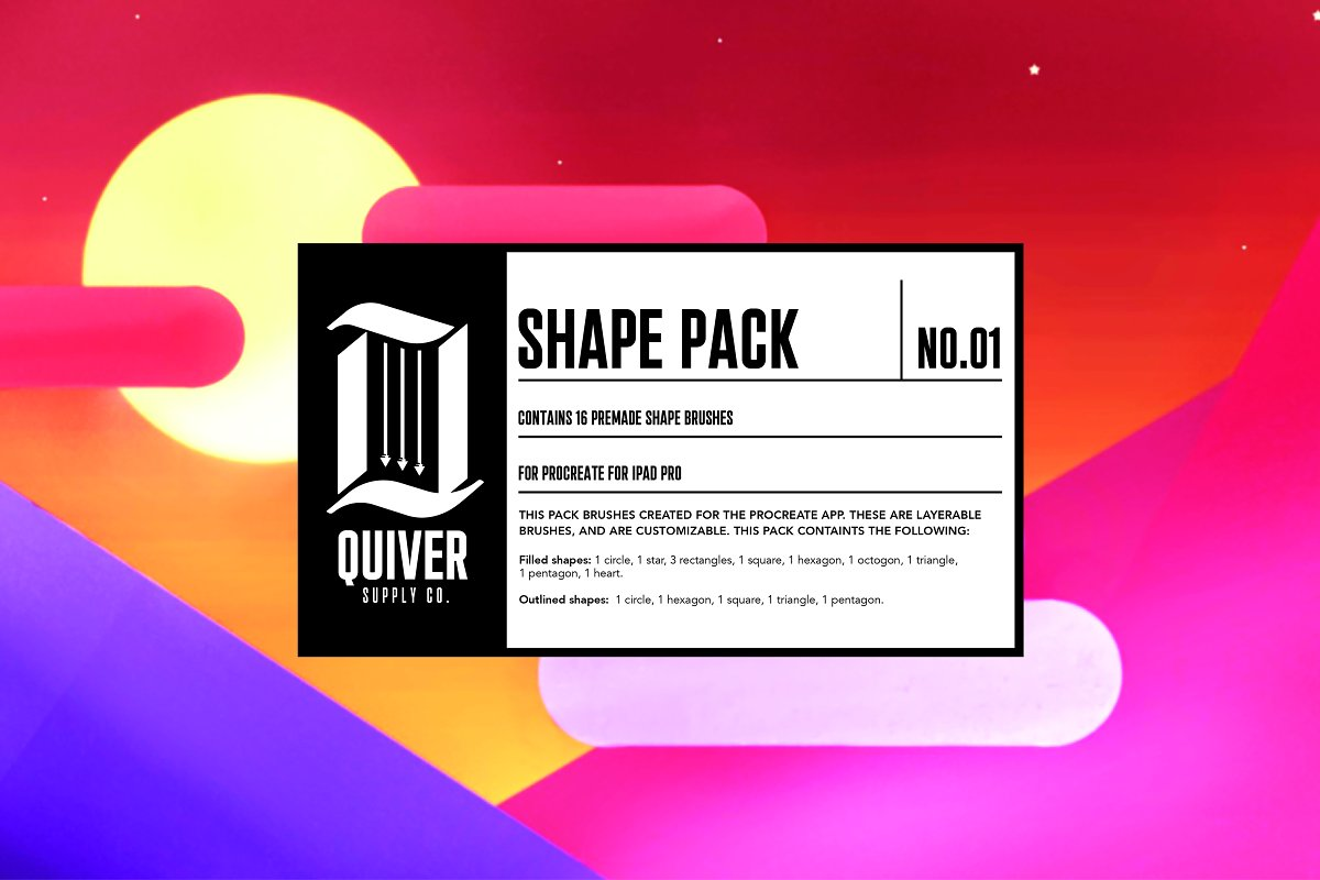 Procreate Shape Brush Pack 01 ~ Other Design Software Add-Ons