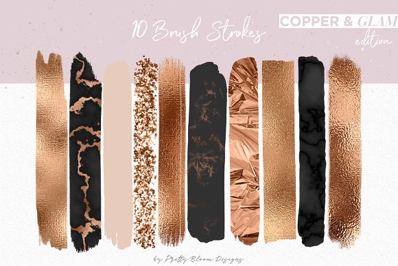 Copper & Glam Brush Strokes in Objects