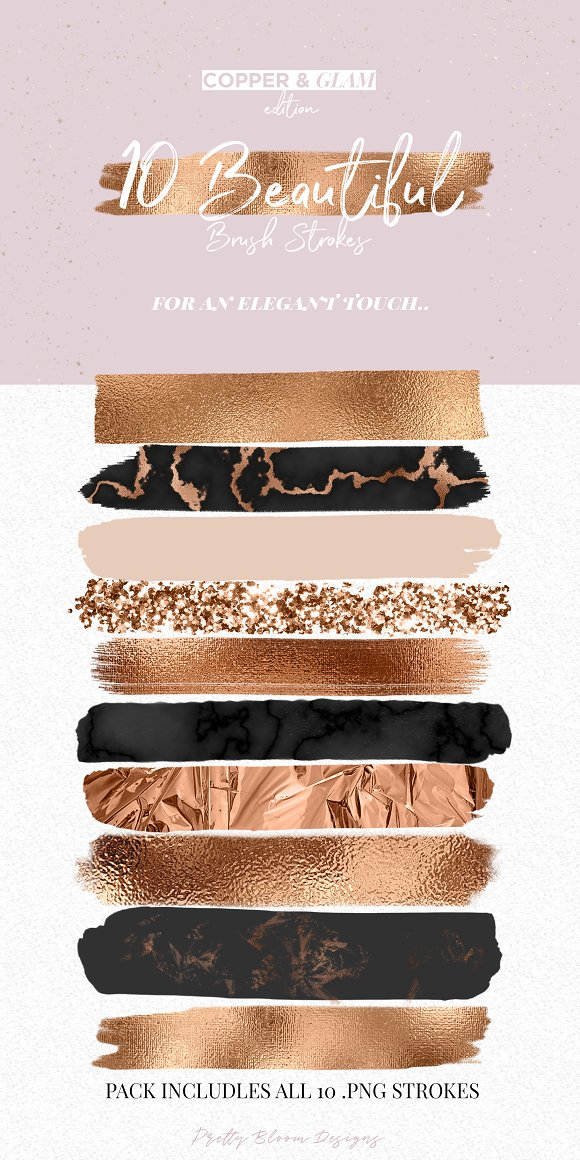Copper & Glam Brush Strokes in Objects - product preview 1