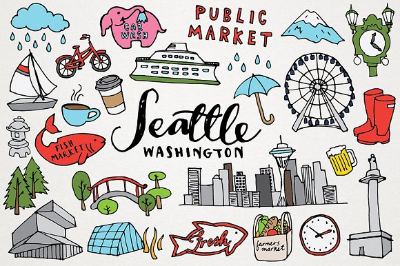 Seattle Clipart Illustration Set