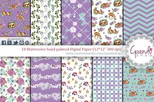 Sweet fawn watercolor digital paper