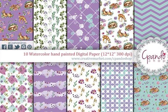 Sweet fawn watercolor digital paper in Patterns