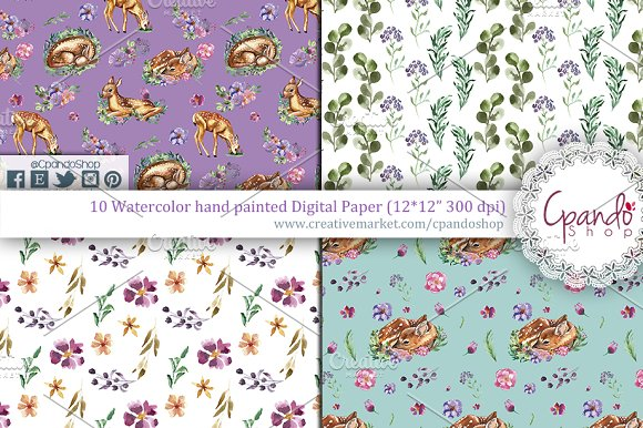 Sweet fawn watercolor digital paper in Patterns - product preview 1