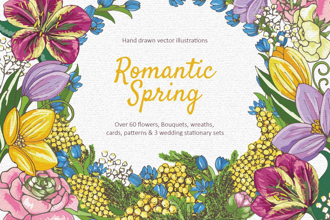 Romantic Spring Flowers Collection Illustrations Creative Market