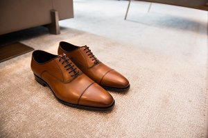 Brown leather classic male shoes