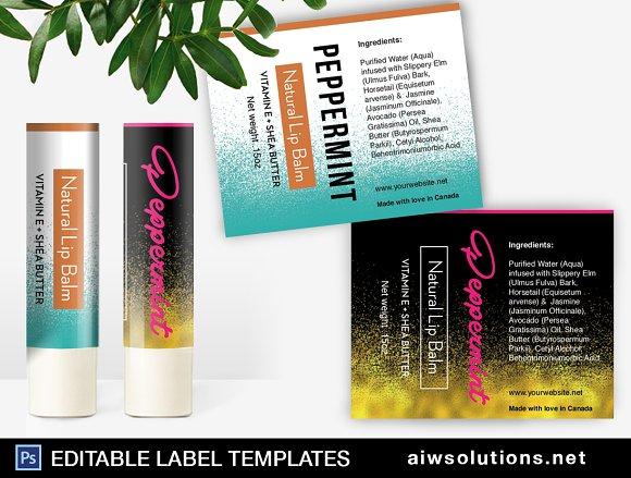 Lip balm label Template-id042