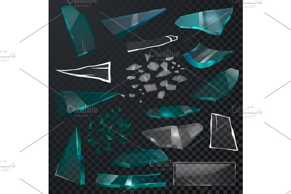 Broken glass sharp pieces vector 3d realistic shattered glassful and shatter or break mirror or glasses isolated on black transparent background illustration backdrop
