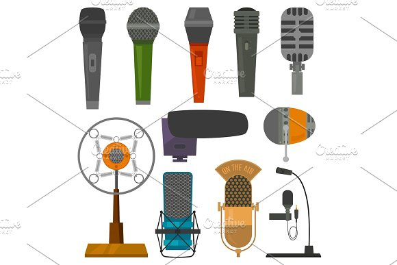 Microphone audio vector dictaphone and microphones for podcast broadcast or music record broadcasting set illustration isolated on white background