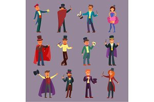 Magician vector illusionist show magic man illusion or magical illusionism and cartoon character person in hat show performance playing cards isolated on white background illustration