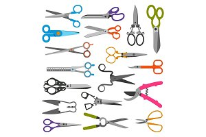 Scissor vector set professional pair of scissors cutting hair or scissoring with cutter and pruning shears prune or secateurs cut in garden illustration isolated on white background