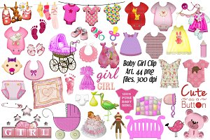 Baby Girl Clip Art, 44 png files