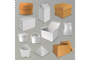 Box package vector cardboard packaging stack of carton packed boxes for delivery and pile of open and close paper, plastic boxed and glass parcels illustration isolated on background