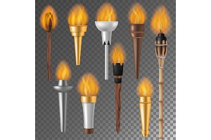 Torch flame vector flaming torchlight or lighting flambeau symbol of achievement torching with burned fireflame 3d realistic illustration isolated on background