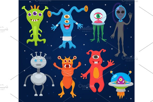 Monster Alien Vector Cartoon Monstrous Character Cute Alienated Creature Or Funny Gremlin On Halloween For Kids Monstrosity And Alienation Illustration Isolated On White Background