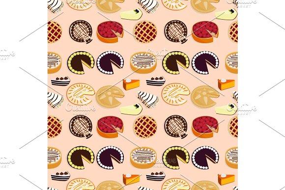 Homemade organic pie dessert vector illustration fresh golden rustic gourmet bakery seamless pattern background.