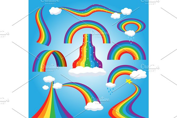 Rainbow vector colorful bowed arc in raining sky multicolored cartoon arch or bow spectrum of colors with rainy clouds illustration isolated on blue background