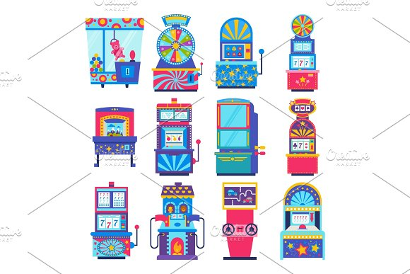 Game machine vector arcade gambling games in casino where gamesome gambler or gamer bet in gaming computer machinery illustration isolated on white background