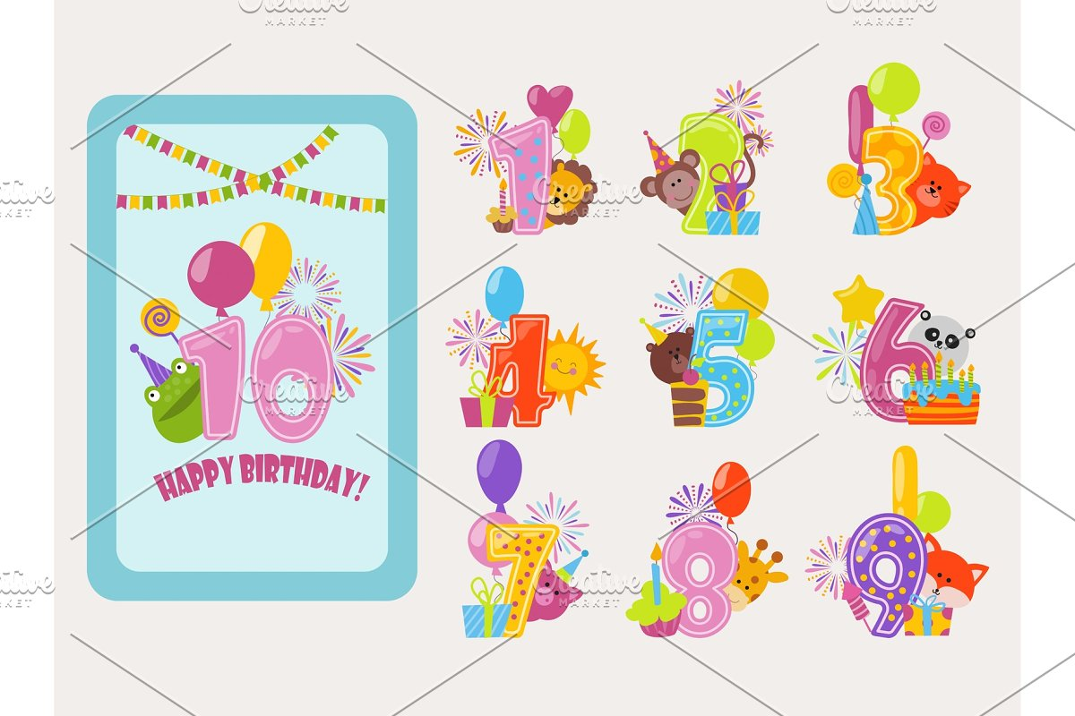 Birthday Numbers Vector Cartoon Anniversary Birth Balloon Numbered