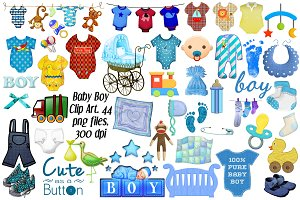 Baby Boy Clip Art, 44 png files