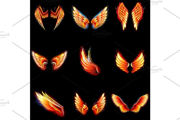Fire wings phoenix vector winged angel burning fantasy bird fiery wingspan of inferno fireburn in hot hell illustration isolated on black background