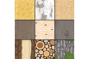 Wood background wooden texture vector seamless pattern natural hardwood material textured backdrop set illustration
